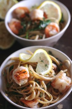 Linguine with Shrimp and Lemon Oil, from My Daily Morsel