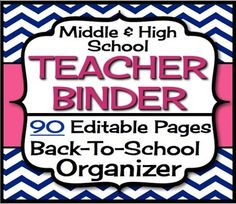 Back To School Teacher Binder For Middle & High- Navy Pink