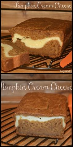 Pumpkin bread and cream cheese. Do I really need to say anymore? This moist pumpkin bread bakes up into a wonderful loaf with a surprise filling. A ribbon