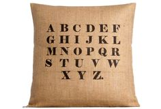 Alphabet Burlap Pillow