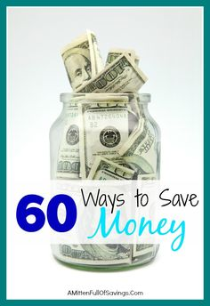 Tons of ways to save money- some you probably haven't even tried yet! If you're looking for money saving ideas, then check out 60 ways to save money. Great money tips!