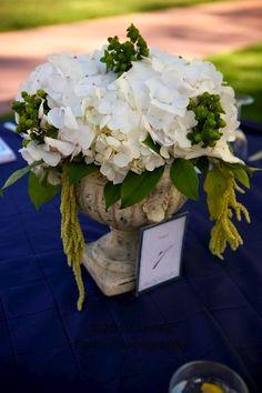 mini urns with hydrangeas  - classy but simple centerpiece