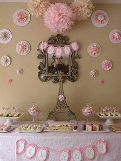 Tremendously pretty pink hued Paris in the Springtime Party decor and dessert table. #dessert #food #party #pink #shabby #chic #vintage #Paris #France #French #table #decor #decorations