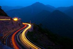 Light trails at the Himalayan Expressway
