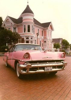 pink pink pink, vintage cars, pink cars, heaven, sport cars, vintage pink, pink houses, dream houses, victorian houses