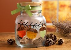 Fall Acorn Glass Container