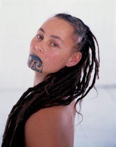 "Maori woman face tattoo called ""moko"" - Maori are indigenous people of New Zealand"