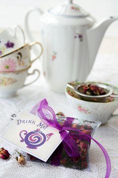 Tea Party Favors - loose leaf tea - unique wedding favors, bridal shower favors, alice tea party. $3.75, via Etsy.