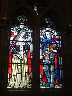 Stained Glass at Cardiff Castle - Queen Elizabeth Woodville and King Edward IV