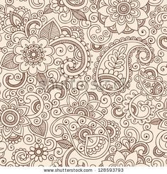 Henna Mehndi Tattoo Doodles Seamless Pattern- Paisley Flowers Illustration Design Elements - stock vector