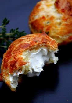 Cheddar Thyme Gougeres w/ Goat Cheese Filling