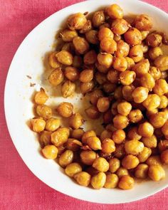 Spicy Roasted Chickpeas -- a great snack for a cocktail party