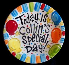 Brightly Painted Personalized 8 Inch Ceramic Special Day Plate or Birthday Plate.