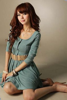 Sophisticated Scoop Neck Front Button Long Sleeve Cotton Dress, $9.85