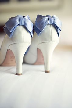 """""""Something Blue"""" bows for bride's shoes"""