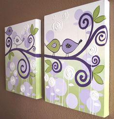 Wall Art Lavender Purple and Green Modern Bird by MurrayDesignShop, $140.00