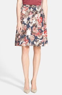 Free shipping and returns on Search for Sanity Floral Print Midi Skirt (Regular & Petite) at Nordstrom.com. Soft pleats add fullness and gentle movement to this ultrafemme A-line midi skirt bursting with printed life-size blooms.