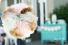tulle and burlap pom