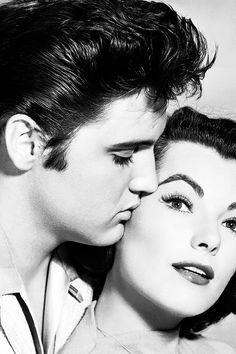 """Elvis and Judy Tyler in a publicity photo for """"Jailhouse Rock"""", 1957."""