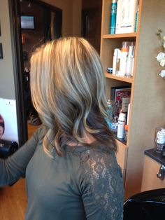 Blonde highlights and dark brown underneath
