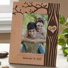 OMG This is the cutest frame ever! The tree design is adorable! You can have it engraved with your initials inside of the heart on the tree and you can have it say any message you want on the bottom! This is the perfect wedding gift idea! LOVE LOVE LOVE IT! #Wedding #Tree