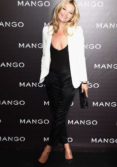 Kate Moss in a white Mango jacket