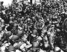 World War II History [D-Day] Soldiers onboard ship