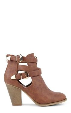 Deb Shops Round Toe Bootie with Block Heel and Side Buckled Cutout $30.00