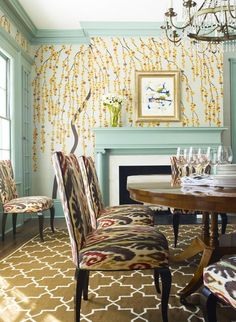 Robin's egg blue still pops in a charming dining room full of funky patterns. (http://www.hgtv.com/designers-portfolio/room/eclectic/dining-rooms/5407/index.html?soc=Pinterest)