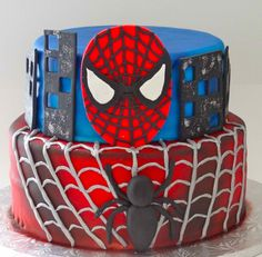 birthday parti, spiderman cake, cake idea, birthdays, kid cakescupcak, boy, bday parti, parti idea, birthday cakes