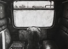 Ada Muntean. I'm From A Place You Don't Even Think About/From Where Sun Rises Only If You Pay For It. Drawing in charcoal, 55 x 76cm