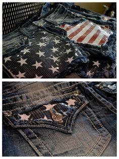 American Flag Miss Me Shorts #DallasHarleyDavidson
