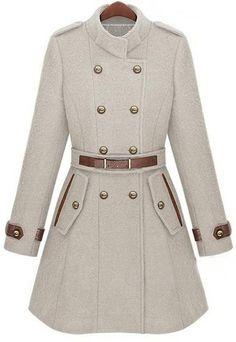 Beige Double Breasted Banded Collar Belt Woolen Coat