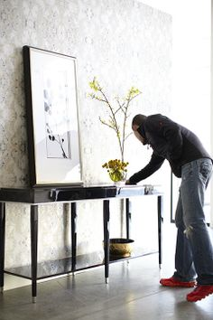 Final touches on the Candice Olson York Wall Covering room shot. #candiceolson #wallpaper