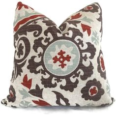 Living room and/or bedroom pillows? :: Brown, Aqua, Red Suzani Decorative Pillow Cover 18x18, 20x20, 22x22. $40.00, via Etsy.