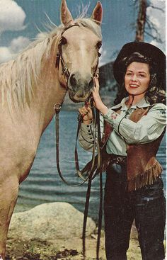 What an idyllically lovely scene. #vintage #cowgirl #Western #horse