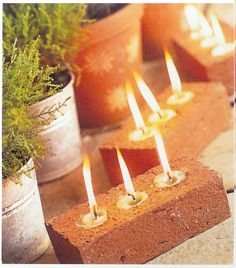 Great idea for outdoor lighting:: Tea lights in brick! Might just have to take a brick from our first home as a family to do this.