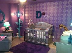 This #purple stenciled #damask wall looks great in a #nursery.
