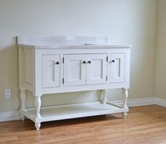 """48"""" Turned Leg Vanity - DIY plan from Ana White. She used this for a bathroom vanity, but would also make a lovely dining room sideboard (minus the sink!) See also separate pin - the """"doors"""" on the ends are really pull-out drawers!"""