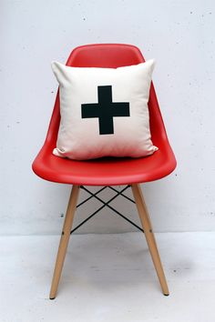Swiss Cross typography pillow