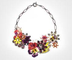 Multi-color Swarovski crystal and vintage fabric flower necklace, byElizabeth Cole, $718.