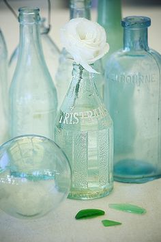 coastal vintage bottles and sea glass