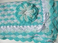 "Ravelry: Baby Blanket ""Turquoise Sea Shell"" 3D Flower Tutorial pattern by Lyubava Crochet"