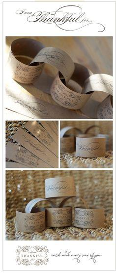 {diy Wedding Ideas} Kraft Paper Printable Napkin Rings