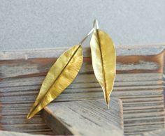 Fold formed brass Leaf Earrings. $41.00, via Etsy.