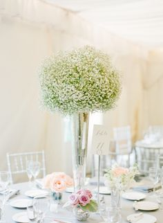 Tall Baby's Breath Centerpieces | On SMP: http://www.stylemepretty.com/2013/11/20/a-maryland-estate-wedding-from-jodi-miller-photography | Photo: Jodi Miller