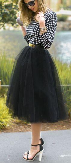 black tulle midi skirt http://rstyle.me/n/ij725pdpe
