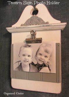 Clipboard Style Photo Display www.organizedclutterqueen.blogspot.com