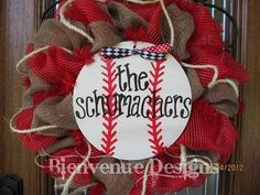 front doors, sport, spring wreaths, baseball season, mesh wreaths