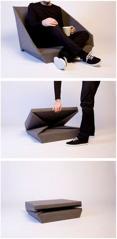 A flat pack chair that would work well for small spaces.  Kawamura Ganjavian - OYSTER